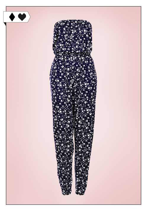 Annie Greenabelle / Navy Swallow Bandeau Jumpsuit