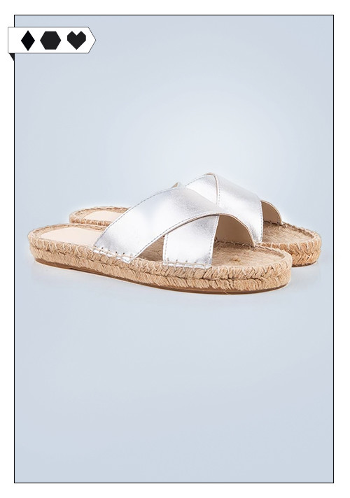 Beyond skin / Silber Espadrille Wedge Sandals