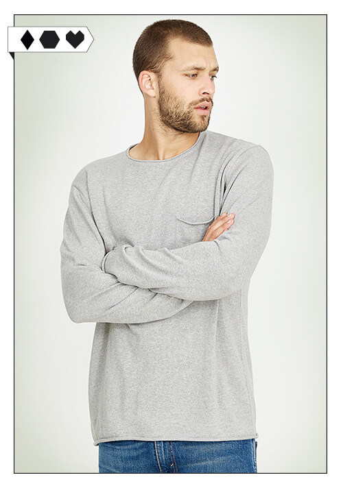recolution Pullover Strick-Pulli grau melange aus 100% Organic Cotton Bio Baumwolle light knit pocket