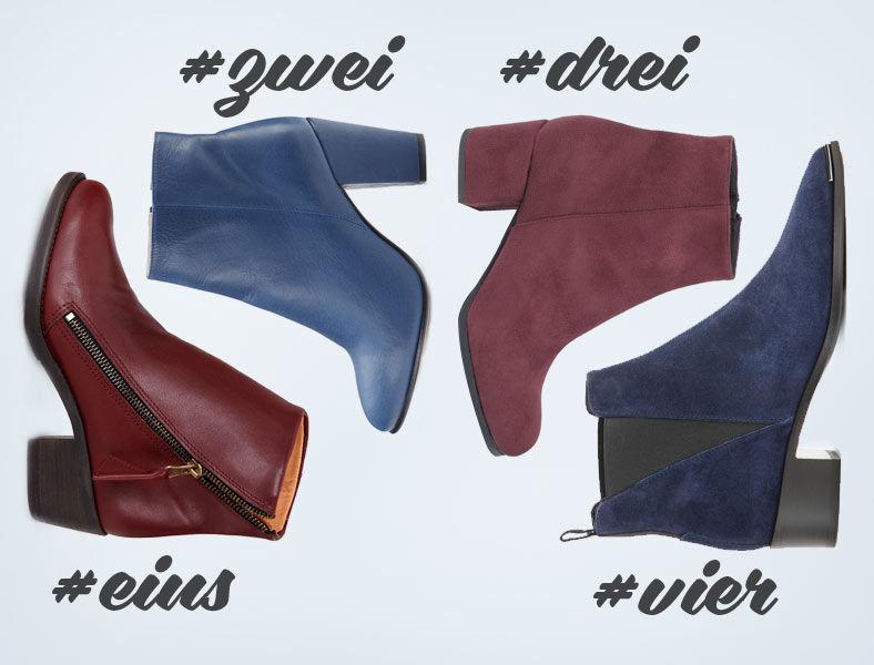 Slow Fashion Boots in bordeaux und blau von Gruene Erde, Nine to five, cosi cosi und Acne Studios