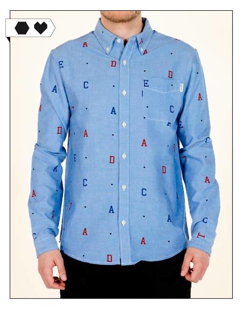 Dedicated Hemd Letters - Hemd aus Organic Cotton mit Buchstaben Print. Fair Fashion