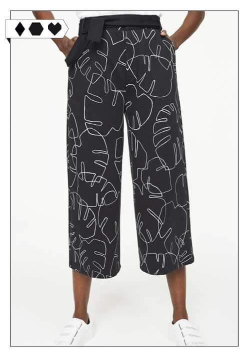 Armedangels Culotte sloris-armedangels-steph-big-leaves-culotte-hose-schwarz-palmen-print-organic-cotton-biobaumwolle