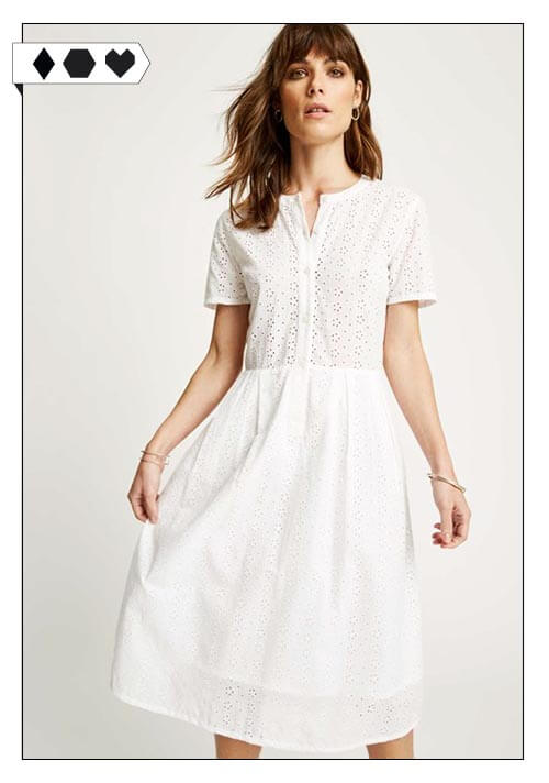 People Tree Nidia Broderie Shirt Dress Organic Cotton White Summer Dress Fair Fashion