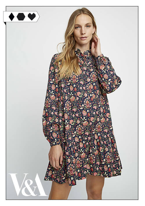 PEOPLE TREE / V&A YASMIN PRINT FLARED DRESS
